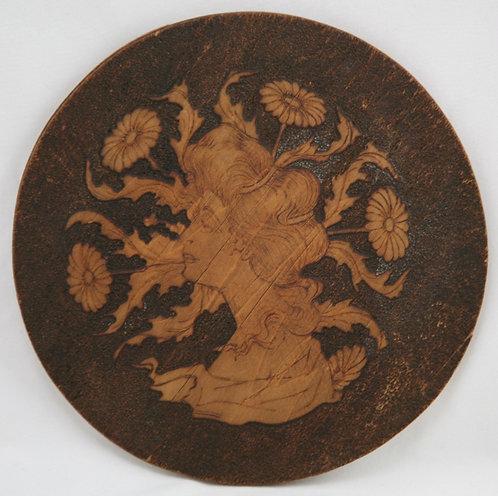 Flemish Art Co. NY Pyrography Plaque with Art Nouveau Maiden/Daisies/Leaf Motif