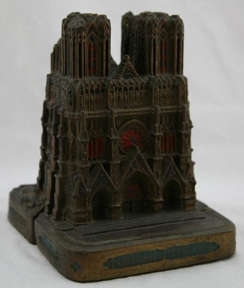 Armor Bronze 'Notre Dame de Reimes' WWI 1914-1918 Polychrome Bookends c1920