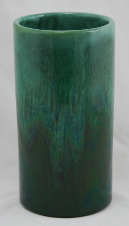 $OLD! TY! Royal Haeger Early Cylinder Vase Blue/Green Glazes c1914 Diamond Mark