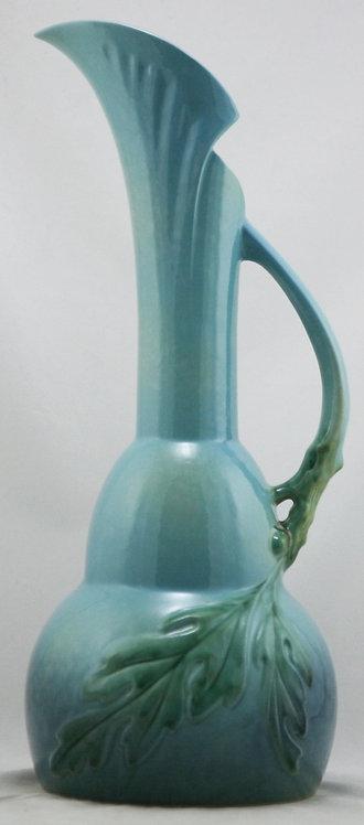 """Roseville Wincraft 18.75"""" Ewer Acorns/Oak Leaves Blue Mottled Frost 218-18 Mint"""