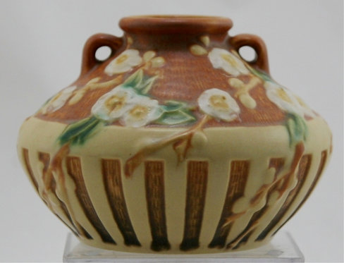 "$OLD! Roseville Cherry Blossom 4.25"" Urn/Vase #617 In Yellow/Brown Glazes Mint"