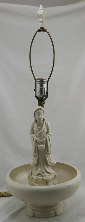 Royal Haeger 'Jeweled Lady' Original Lamp with Finial in Porcelain White Glaze