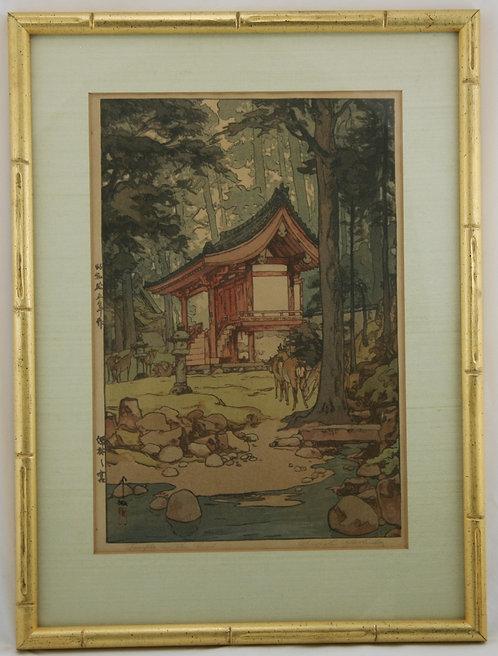 Hiroshi Yoshida (1876-1950)  'Temple in the Wood'