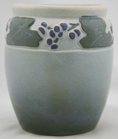 "Owens Matt Lotus Ware 6"" Vase With Vineyard Grapes/Leaves Motif"