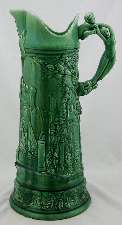 C.B. Upjohn Pottery Tankard c1903 with Nude Handle Castle Scene Green Glaze