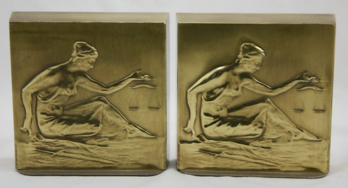 Philadelphia Manufacturing Co. 'Lady Justice' Polished Weighted Brass Bookends