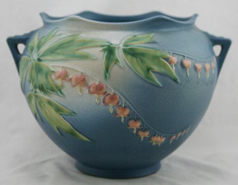 Roseville Bleeding Heart Jardiniere In Blushed Blue Glazes 651-7