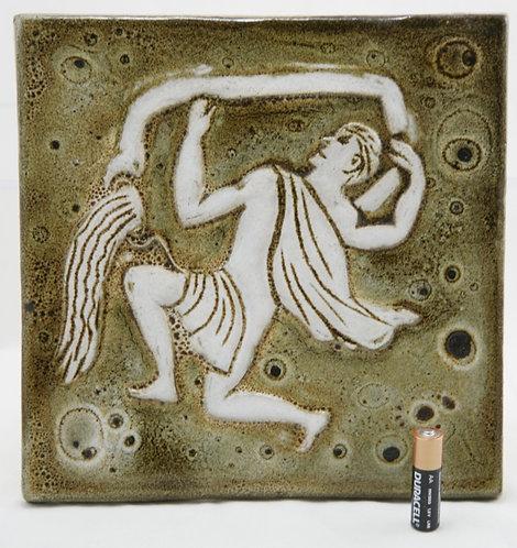 "Pigeon Forge Mid-century Zodiac 9"" Hanging Tile Doug Ferguson 'Aquarius' c1974"