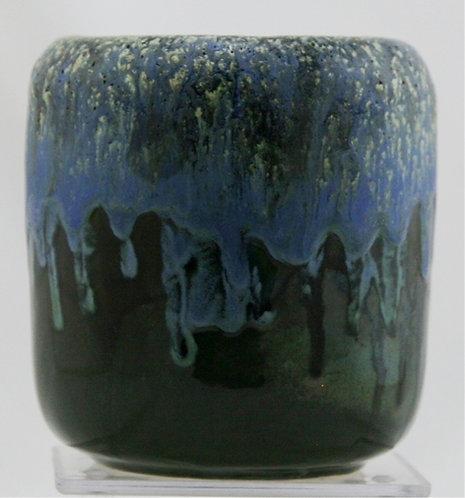 "Arts & Clay Co. 5"" Vase In Matte Blue/Black Drip Glazes Studio c1990s Mint C276"