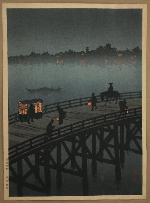 Shoda, Koho (1871-1946) The Night Scene Series: 'Ohashi Bridge at Atako' #1253