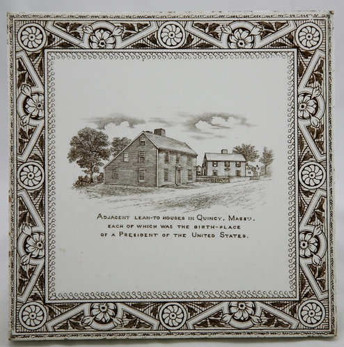 English Transfer Tile of 'Lean-To Houses' in Quincy, Massachusetts c1890s