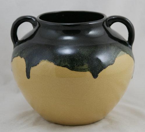 Zanesville Stoneware Co. Arts & Crafts Handled Ball Vase Black/Yellow Glazes