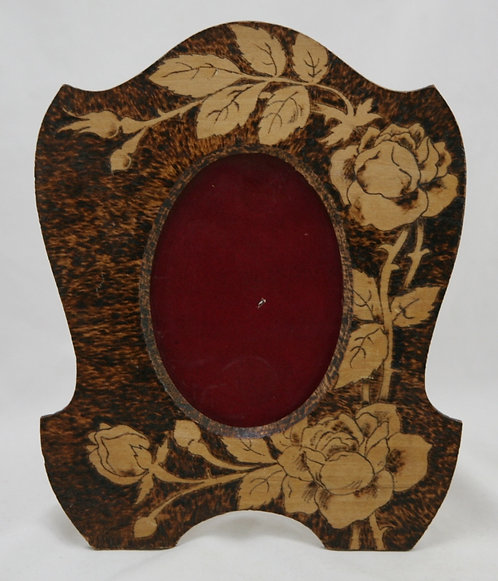 Flemish Art Co. NY Pyrography Wooden Photo Frame with Roses and Buds Motif