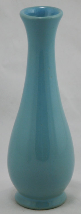 "Rosemeade Pottery 7.25"" Bud Vase in Robin's Egg Blue 'Happy Spring!'"