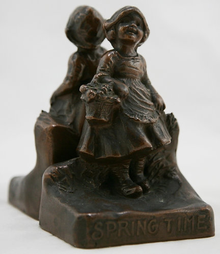 Weidlich Brothers 'Springtime' Girl with May Basket Bookends c1930