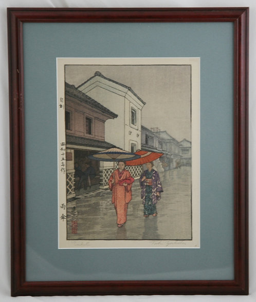 Toshi Yoshida (1911-1995) 'Umbrella' Jikoku-Sealed First Edition Woodblock d1940