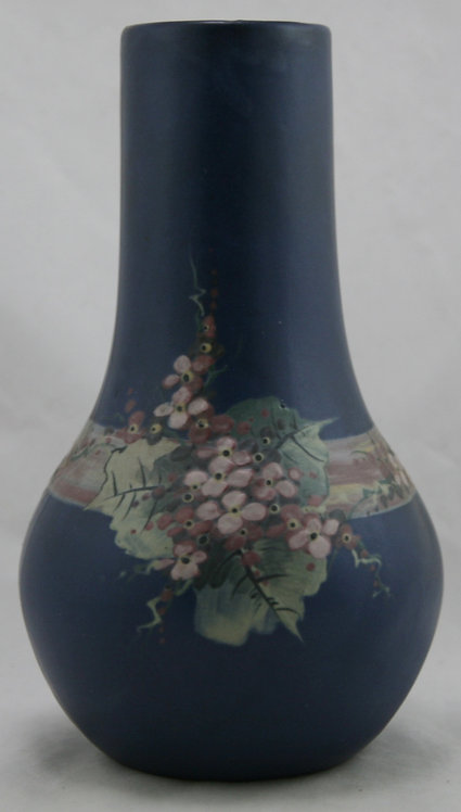 """Weller Hudson Blue And Decorated 9.5"""" Vase W/Pretty Blossom Spray"""