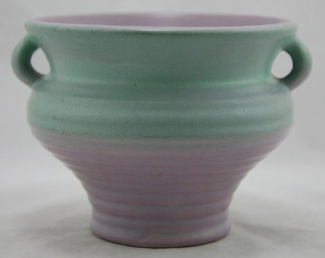 Rumrill Ribbed and Handled Urn/Vase In Blushed Teal/Lavender Glazes