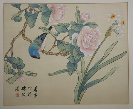 (Unread Artist) 'Blue-Flycatcher on a Rose Blossom Branch, with Jonquils'