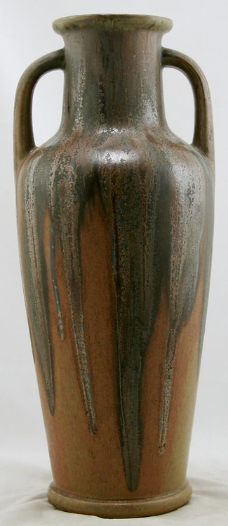 "Denbac French Pottery Vase 14"" x 6"" In Green Over Golden Ochre Drip Glazes Mint"