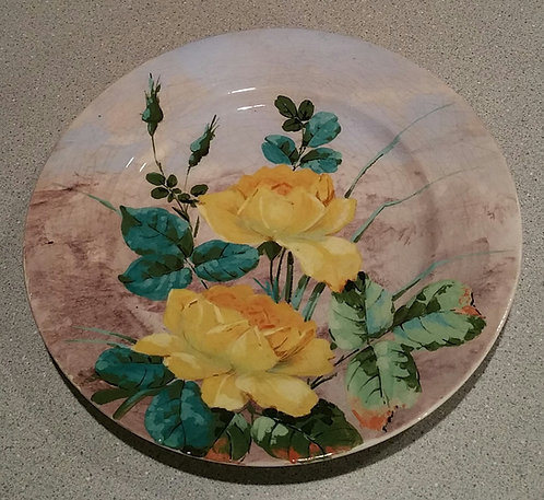 Longwy Faience Hand Painted Plate with Yellow Roses France