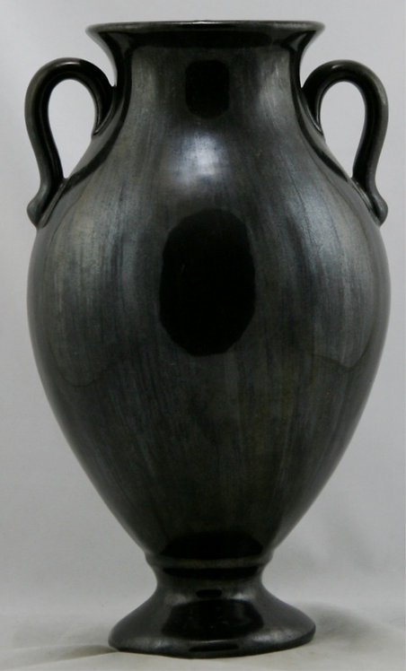 "Fulper 13.5"" x 7.5"" Handled Vase In a Black Streaked Crystalline Glaze F338"