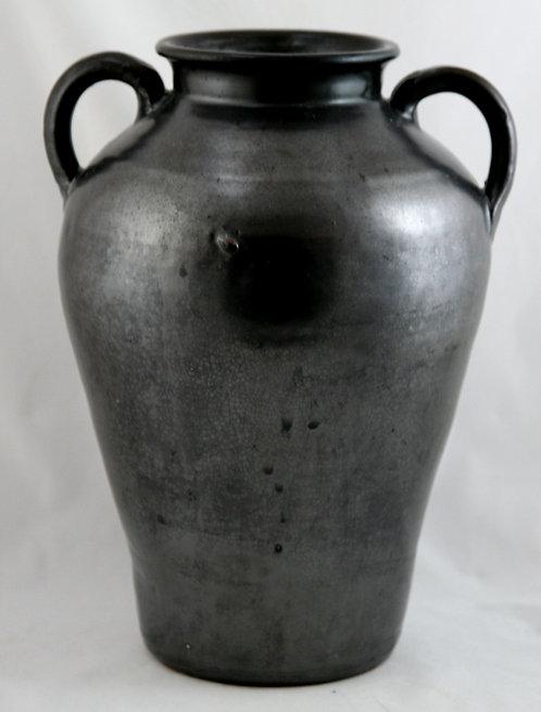 "Southern/North Carolina 13.5"" Vase W/Loop Handles Gunmetal Glaze c1940s"