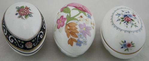 Wedgwood Ltd Edition Egg Trinket Boxes: Meadow Sweet, Runnymede Blue & Bouquet