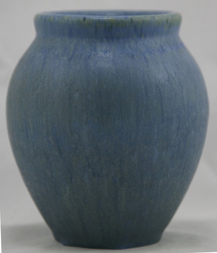 "Fulper 5.5"" Ball Vase In Blue Matte Glazes Mint F482"