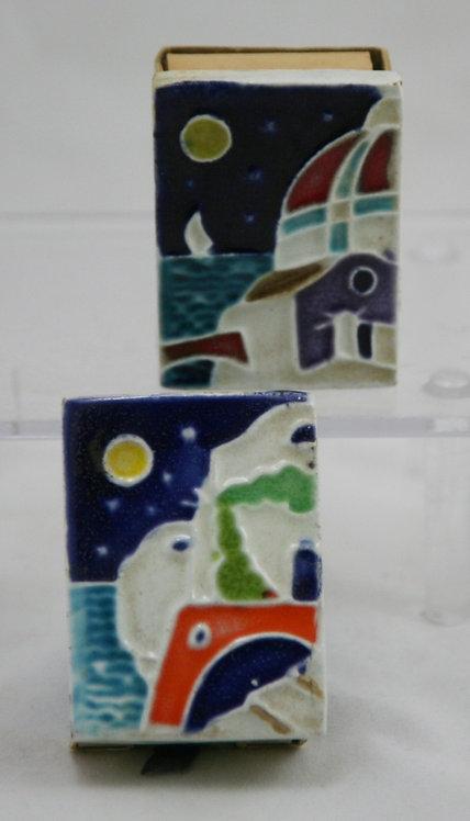 Creazioni Luciano Italian Ceramic Cloisonné Tile Matchbox Covers