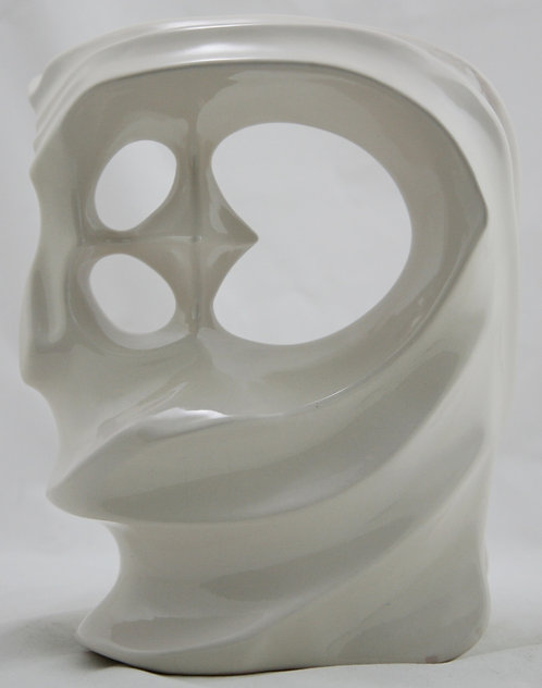 """Frankoma 10.5"""" Modernist 'Gerald' Head Form by Gerald Smith Signed #32 In White"""