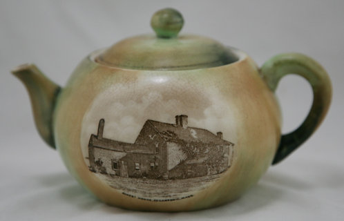 Hampshire Pottery Teapot 'Oldest House, Edgartown, Mass Martha's Vineyard c1910