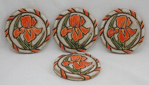 Set of Four Mid-Century Art Pottery Coasters Carved Irises Orange/Oyster Glazes
