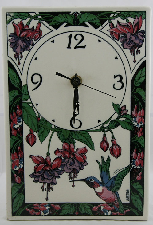Santa Barbara Ceramic Design SBCD Clock Hummingbird & Fuchsia By Shannon Sargent