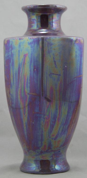 Empire Works Stoke on Trent England Hexagonal Vase In Oil-Spotted Lustre Glazes