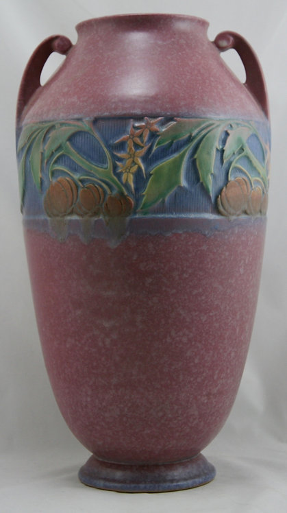 "Roseville Baneda 15.25"" Floor Vase In Pink Mottled & Frosted Glazes 600-15"