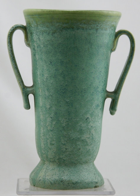 Fulper Transitional Strap Vase In Lush Green/Blue Frosted Glaze c1917-1934 F404