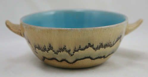Paul Revere Pottery Handled Bowl in Drippy Striped/Golden Mat Glazes Dated 12.39