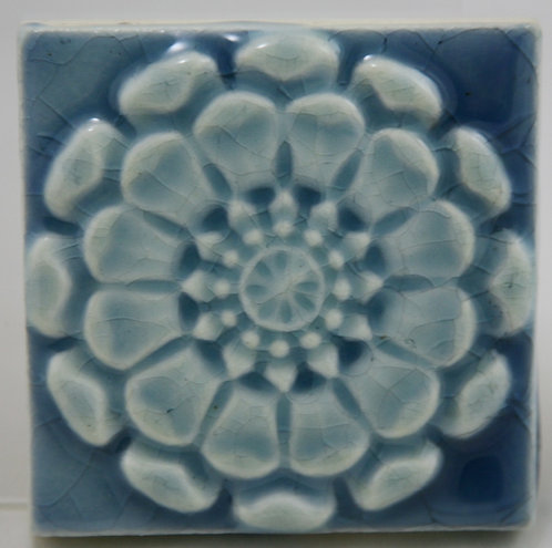 "Trent Tile Co. Zinnia Blossom 3"" Square Tile in Azure Blue Glaze"