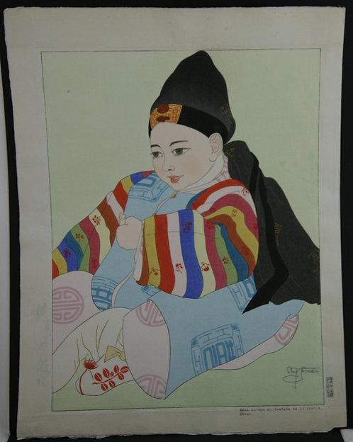 Paul Jacoulet (1902-1960) 'Bebe Coreen en Costume de Ceremonie, Seoul'
