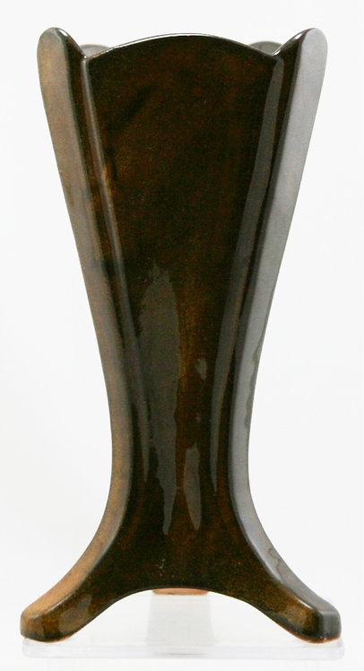 "Van Briggle 8"" Triangular Footed Vase In Deep Chocolate Caramel Glaze Mint"