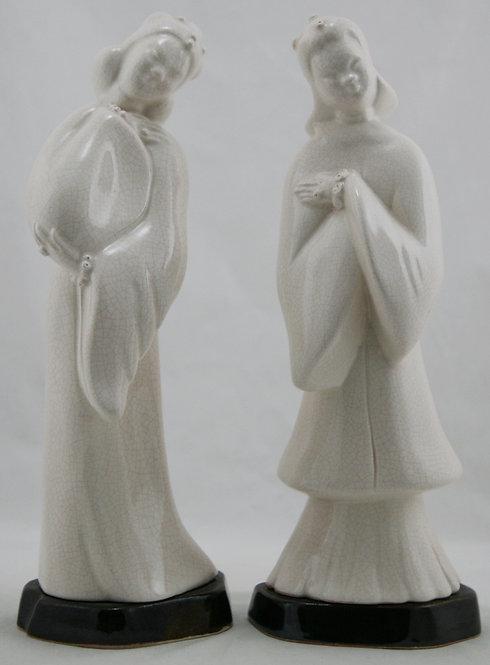 """Kay Finch 11"""" Japanese Courtesans in Porcelain Crackle Glaze on Platform Bases"""