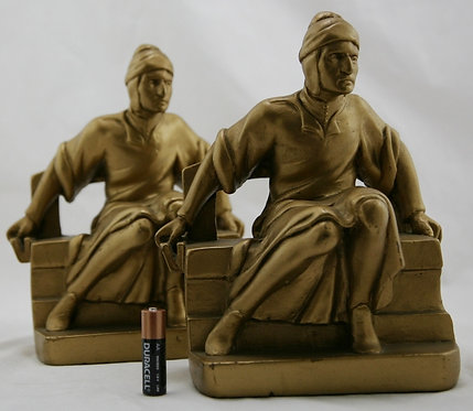 Galvano Bronze Mantovani's 'Grand Seated Dante' Bookends c1925