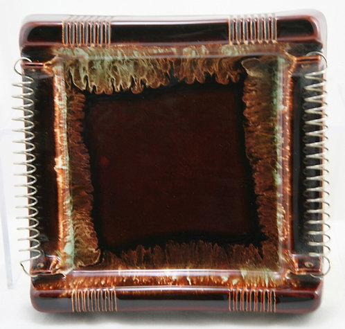 Pfaltzgraff Pottery Mid-Century Stoneware Ashtray with Coil Rests Great Glazes