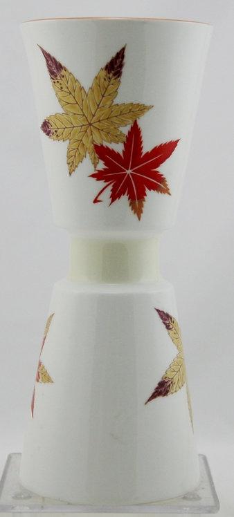 Noritake Japanese Maple Leaves Vase Bone China Hand-painted c1950s