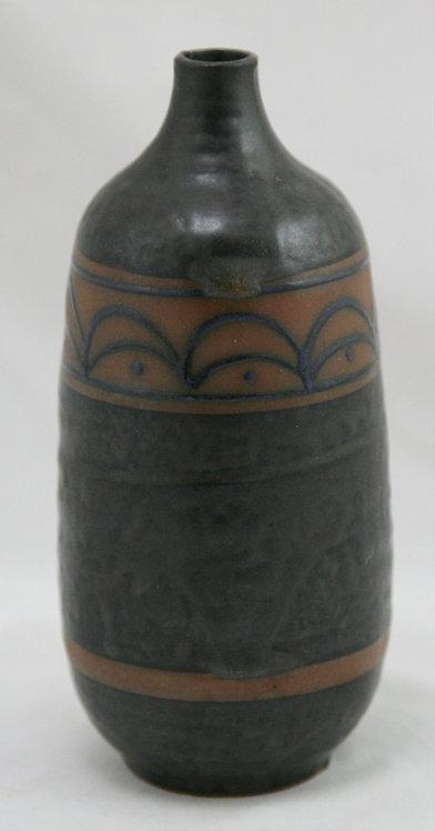 Mid-Century Modern Japanese Decorated Vase Elliptical Lines c1950s