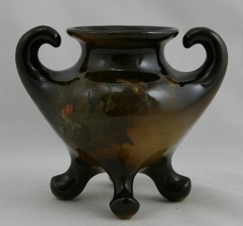 """Lonhuda Faience 4"""" x 4.5"""" Standard Glaze Footed Vase Holly Berries/Leaves by EL"""