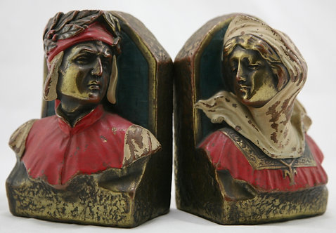 Armor Bronze 'Dante & Beatrice' Bust Polychrome Bookends 1925