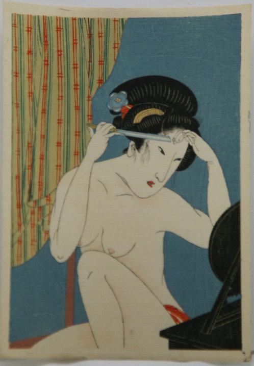 Utagawa Kunisada/Toyokuni III (1786-1865) 'Nude Beauty Shaving her Eyebrows'