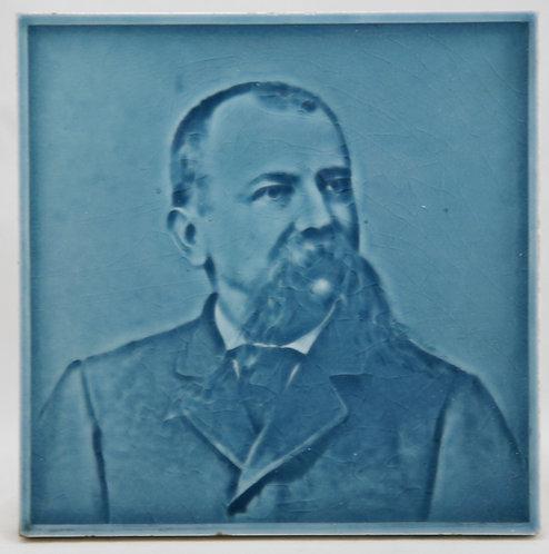 """American Encaustic Tile Co. 6"""" Portrait Tile 'John Hoge' Zanesville Millionaire"""